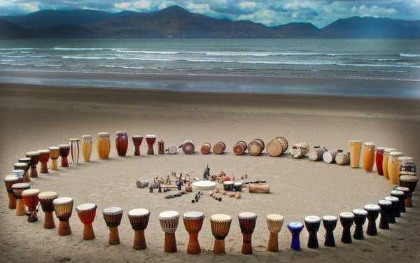 The use of celebrating drum circles